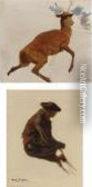 Studies: Stag And A Man (two Works) Oil Painting - Rosa Bonheur