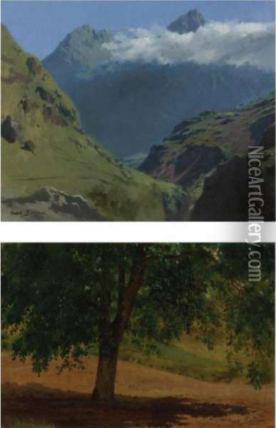 Landscape Studies: Pyrenees And Tree (two Works) Oil Painting - Rosa Bonheur