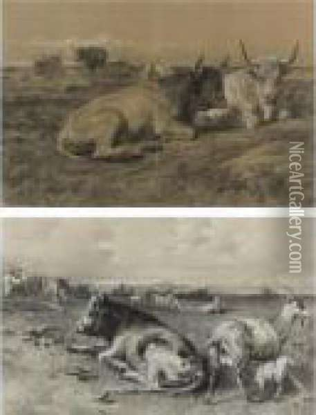 Cattle Resting And Cattle And Goats In A Landscape (two Works) Oil Painting - Rosa Bonheur