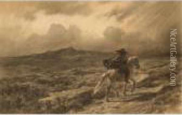 Horse And Rider On The Scottish Highlands (the Approaching Storm) Oil Painting - Rosa Bonheur