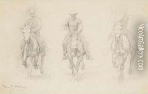 Study Of Three Men On Horseback (possibly From The American West) Oil Painting - Rosa Bonheur
