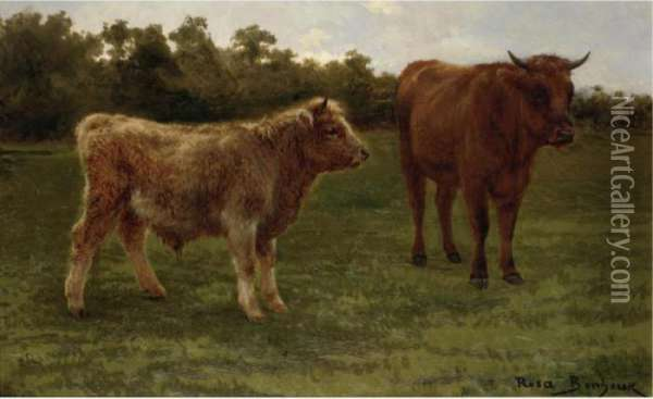 Two Cows Grazing Oil Painting - Rosa Bonheur