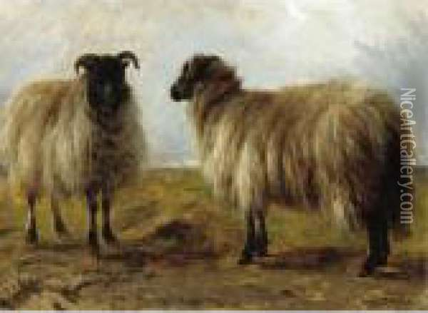 Two Rams In A Landscape Oil Painting - Rosa Bonheur