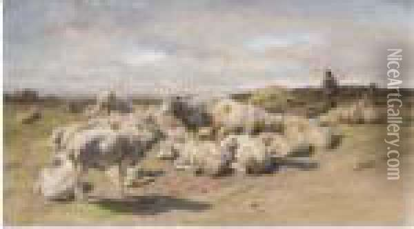 A Shepherd Resting With His Flock Oil Painting - Rosa Bonheur