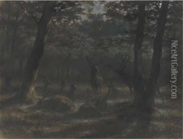 Deer In The Moonlight Oil Painting - Rosa Bonheur