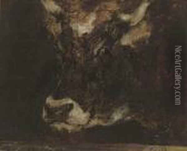 A Study Of A Cow's Head Oil Painting - Rosa Bonheur