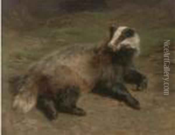 A Resting Badger Oil Painting - Rosa Bonheur
