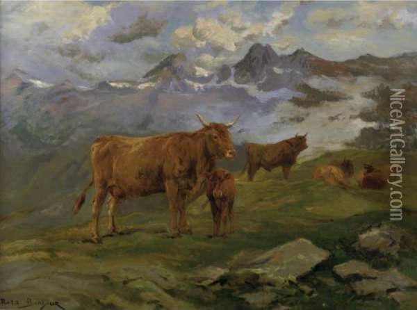 Cattle In The Pyrenees Oil Painting - Rosa Bonheur