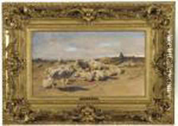 A Shepherd With His Flock Of Sheep Oil Painting - Rosa Bonheur
