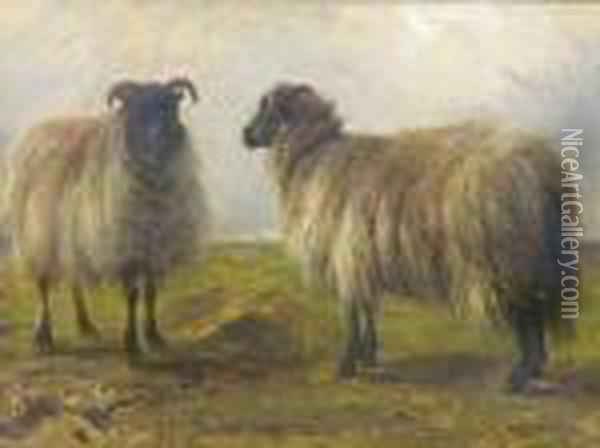 Two Sheep In A Landscape Oil Painting - Rosa Bonheur
