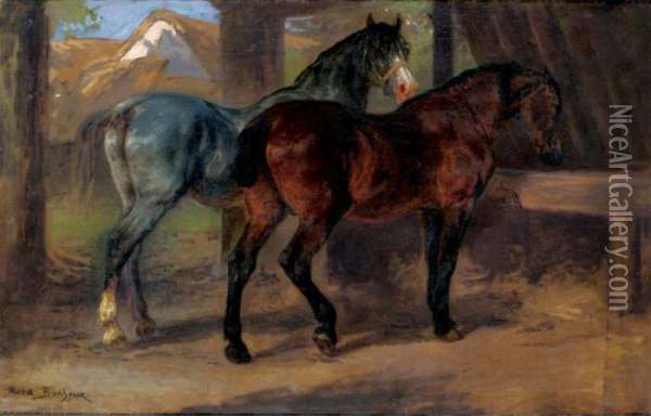 Two Horses In A Stable Oil Painting - Rosa Bonheur