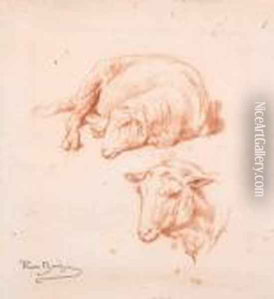 A Study Of A Sheep Oil Painting - Rosa Bonheur