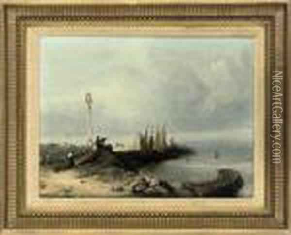 A Coastal Landscape With Figures By A Dock And Sailing Boats,yarmouth, Isle Of Wight Oil Painting - Richard Parkes Bonington