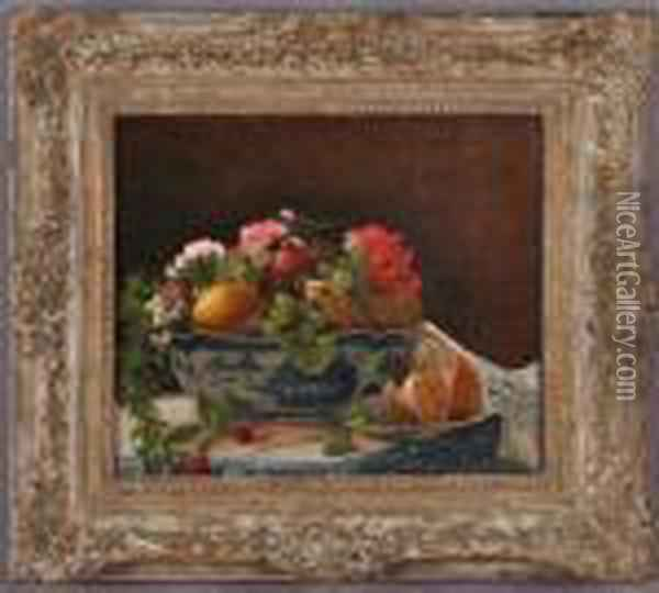 Still Life With Fruit And Flowers And Blue And White Table Decor Oil Painting - Francois Bonvin