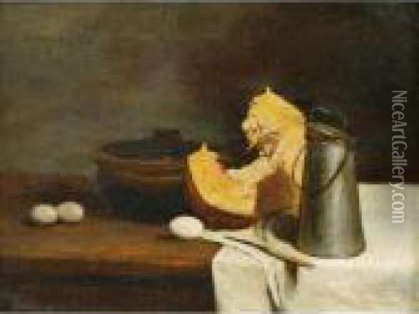 Nature Morte A La Citrouille Oil Painting - Francois Bonvin