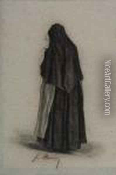 Study Of A Standing Nun, Seen From Behind Oil Painting - Francois Bonvin