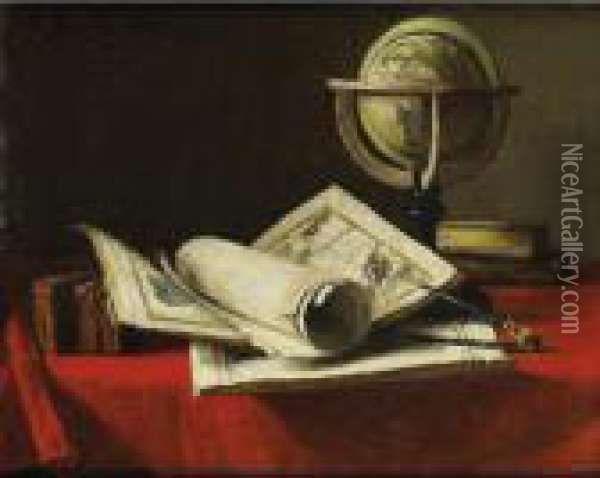 Nature Morte Aux Cartes Et A La  Mappemonde [ ; Still Life With Cards And A Globe ; Signed And Dated  Upper Left F Bonvin 1880] Oil Painting - Francois Bonvin