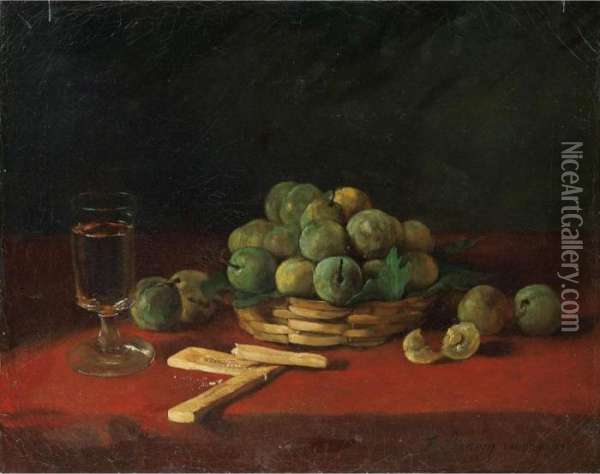 Panier De Prunes, Biscuits Et  Verre [ ; Still Life With Greenages, Biscuits And Glass ; Oil On Canvas ;  Unframed ; Signed And Dated Lower Right F Bonvin London 1871] Oil Painting - Francois Bonvin
