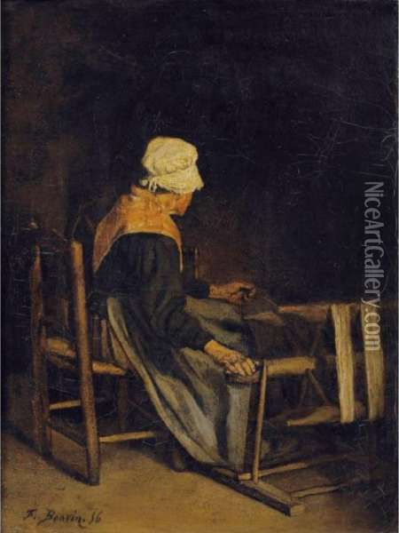 La Devideuse [ ; The Winder ; Oil On Canvas Signed And Dated ' 56] Oil Painting - Francois Bonvin