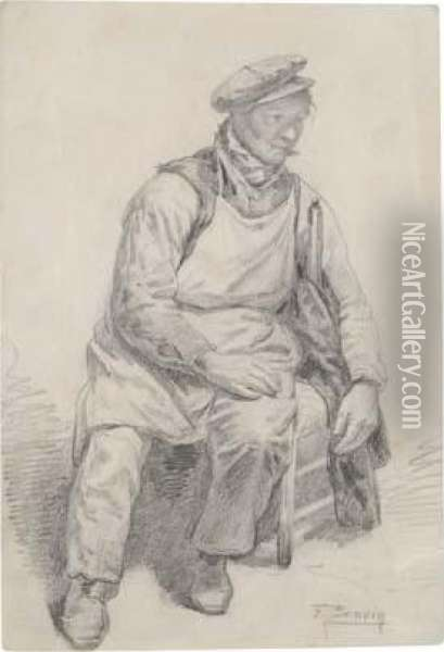 A Seated Workman Oil Painting - Francois Bonvin