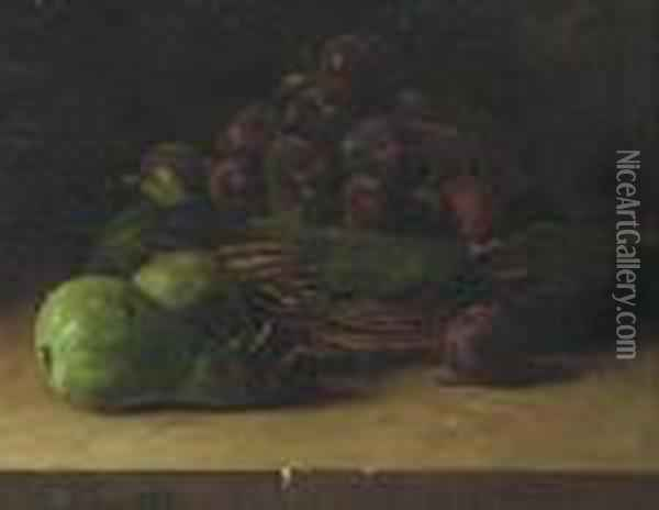 Still Life With Basket Of Prunes Oil Painting - Francois Bonvin