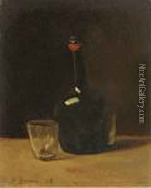 Nature Morte: A Bottle Of Port And Glasses On A Ledge Oil Painting - Francois Bonvin