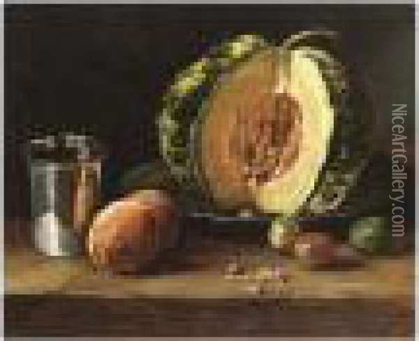 A Still Life With A Melon And Other Fruit On A Table Oil Painting - Francois Bonvin