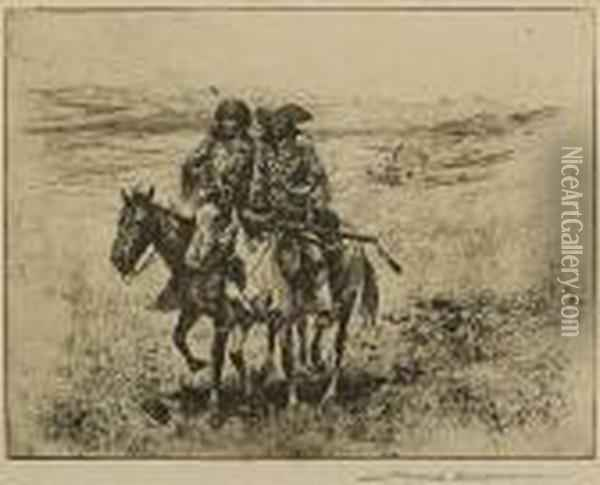 Grass Hunters, No. 1; Return Of Thetrappers Oil Painting - John Edward Borein