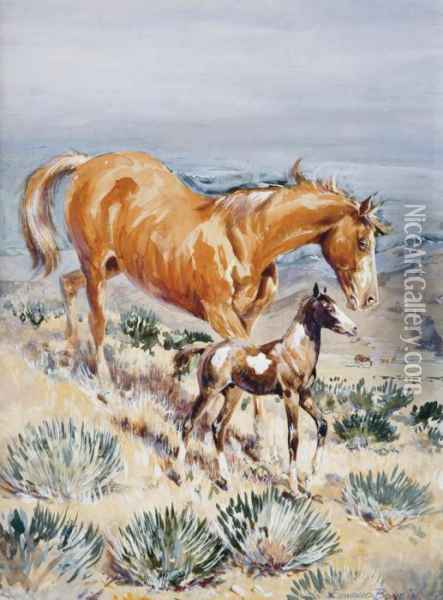 The Pinto Foal Oil Painting - John Edward Borein