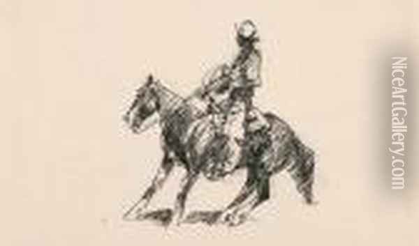 Cowboy Facing Left; Bull Moving Left: Two Works Oil Painting - John Edward Borein