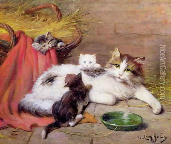 Cat with kittens Oil Painting - Leon Charles Huber
