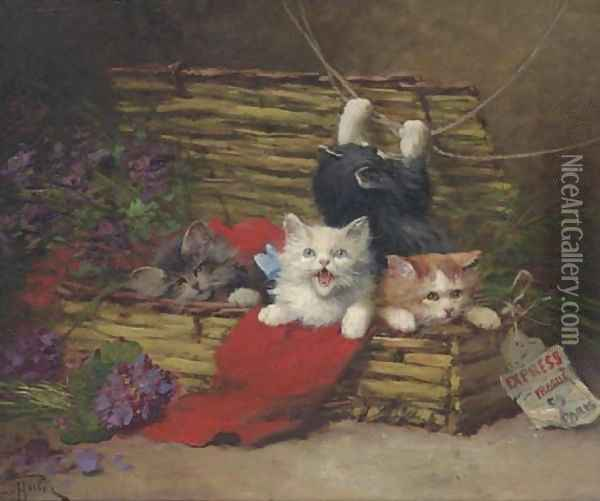 Four Kittens in a Basket Oil Painting - Leon Charles Huber