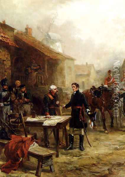 Wellington And Blucher Meeting Before The Battle Of Waterloo Oil Painting - Robert Alexander Hillingford