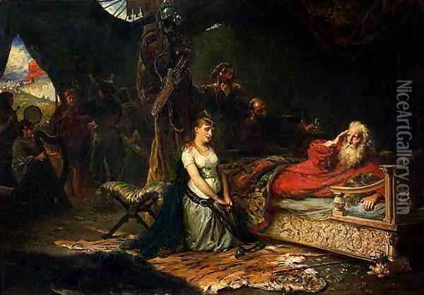 Cordelia and King Lear Oil Painting - Robert Alexander Hillingford