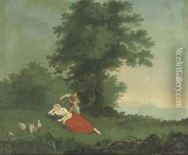 A shepherdess and children in an extensive landscape Oil Painting - George Holmes