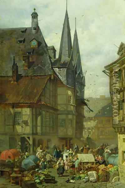 The Marketplace in Wernigerode Oil Painting - Charles Hoguet