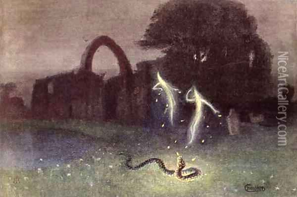 Will o the wisp and Snake Oil Painting - Hermann Hendrich