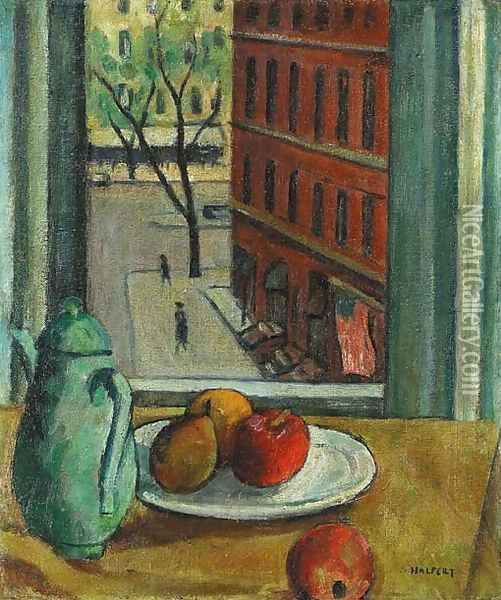 Still Life with Fruit with View of Street from Window Oil Painting - Samuel Halpert