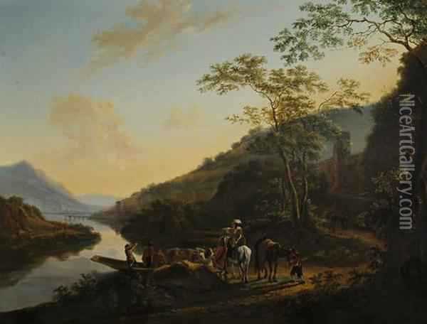 Travellers Approaching A Shore Before An Italianate River Landscape Oil Painting - Jan Both