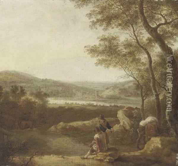 An Italianate Landscape With Travellers At Rest On A Track Oil Painting - Jan Both