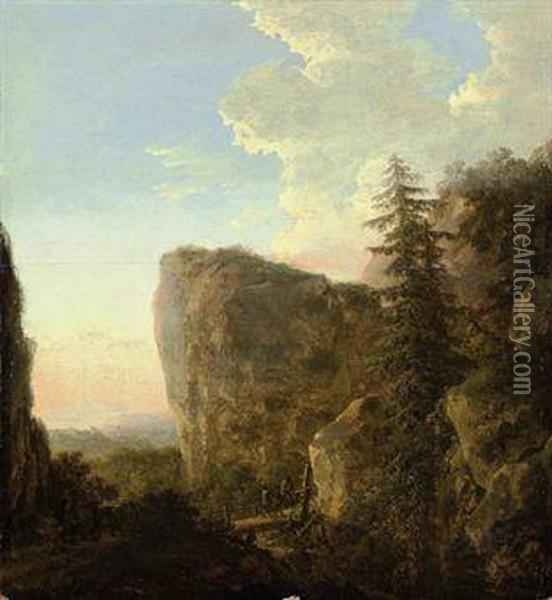 An Italianate Landscape With A Muleteer And Travellers On Amountain Track Oil Painting - Jan Both