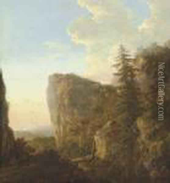 A Mountainous Landscape With Travellers Crossing A Bridge Oil Painting - Jan Both