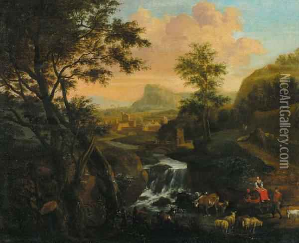 Mountain Landscapewith  Travellers And Cattle Near A Fast Flowing Stream. A Town Atthe Horizon Oil Painting - Jan Both