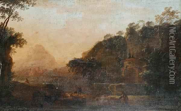Cattle Drovers In A Rural Landscape Oil Painting - Jan Both