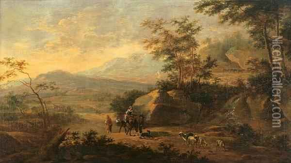 An Extensive Italianate  Landscape Withtravelers On A Path And A Waterfall In The Foreground Oil Painting - Jan Both