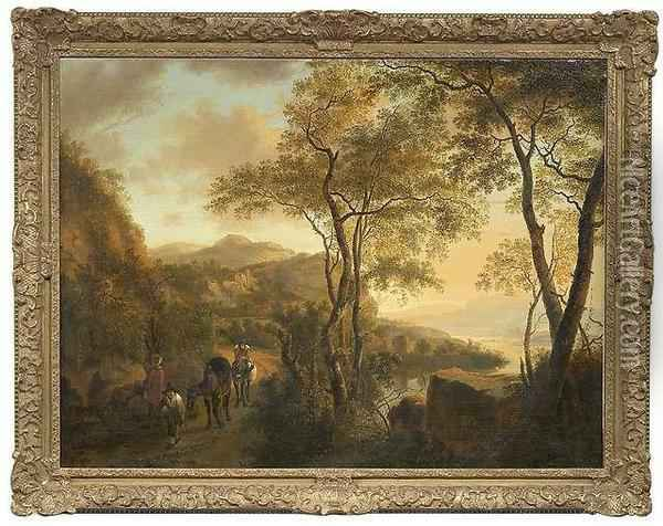 An Italian River Landscape With Travellers Oil Painting - Jan Both