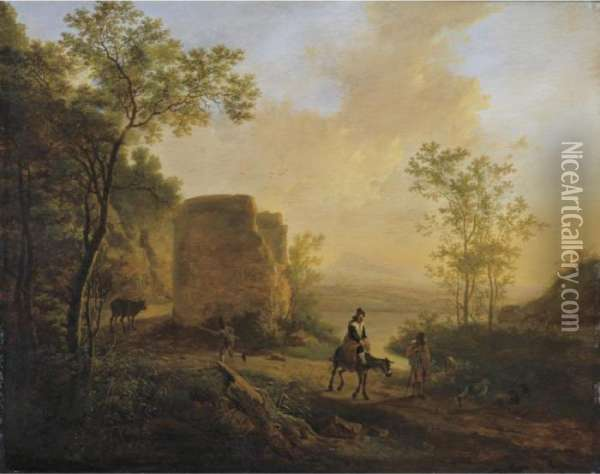 A Southern Landscape With A Ruin Oil Painting - Jan Both