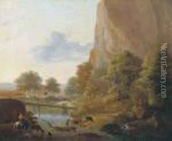 An Italianate Landscape With Muleteers Fording A River, A Sportsmanin The Distance Oil Painting - Jan Both
