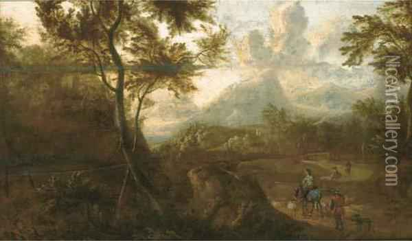 A Wooded Landscape With Travellers On A Path Oil Painting - Jan Both