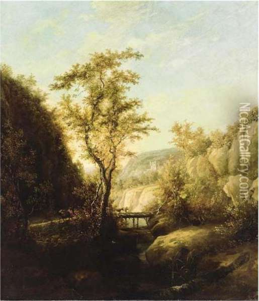 A Mountainous Landscape With Travellers On A Bridge Oil Painting - Jan Both